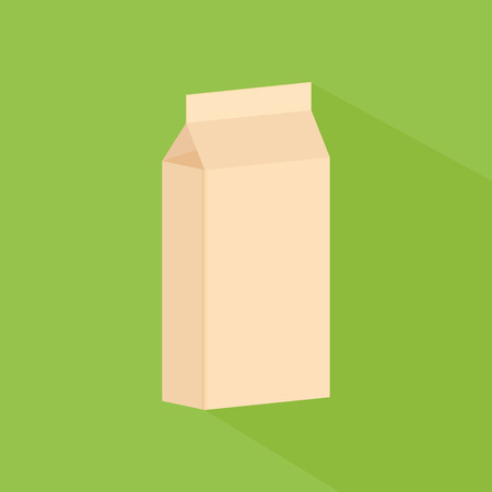 brown box: an isolated brown box of milk on a green background Illustration