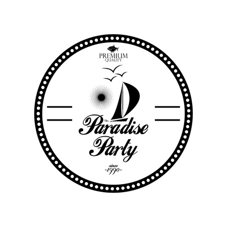 Vector Simple Stylish Black And White Beach Related Label Vector