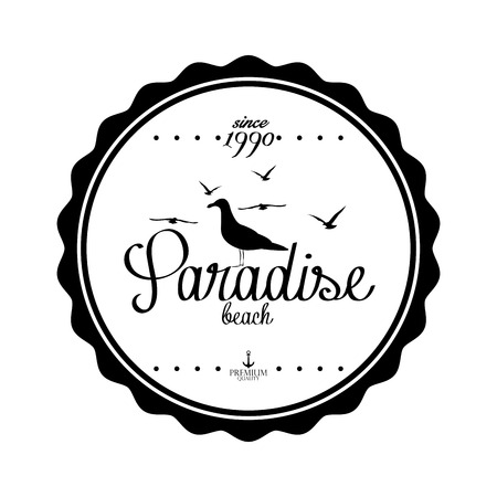 Vector Simple Stylish Black And White Beach Related Label