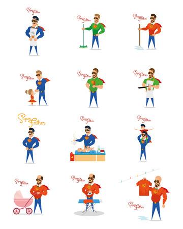 a set of super dad doing different actions Ilustração