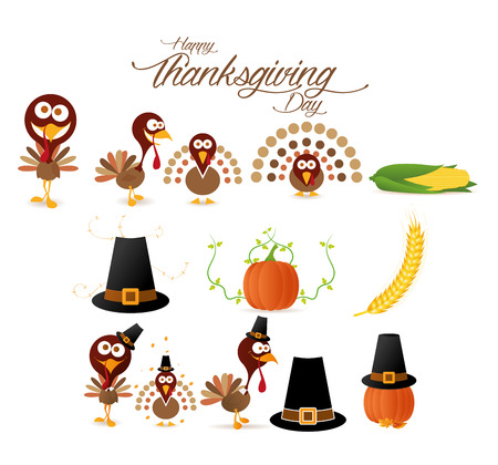 a set of different icons and elements for thanksgiving day Vector