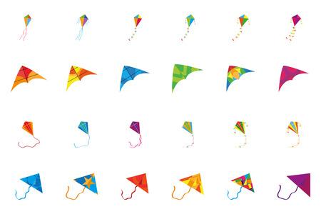 papalote: un conjunto de kits de colores sobre un fondo blanco