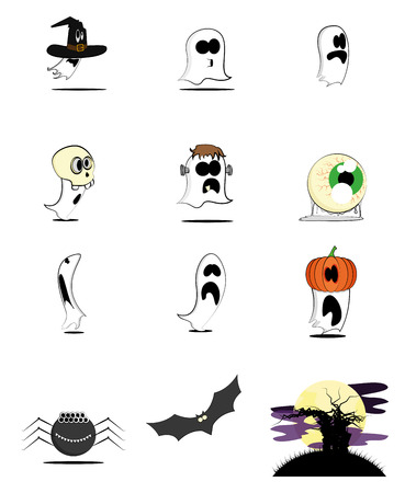 a set of ghost and animals for halloween celebration Vector