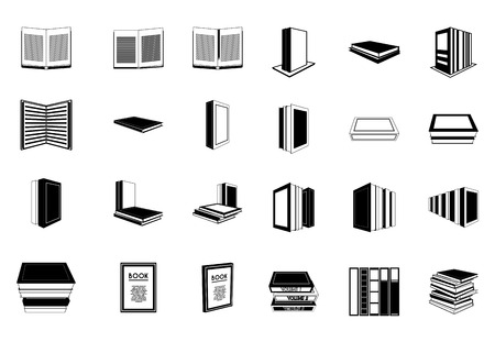 a set of books on a white background