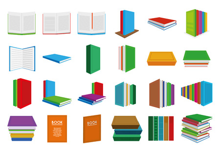 a set of colored books on a white background