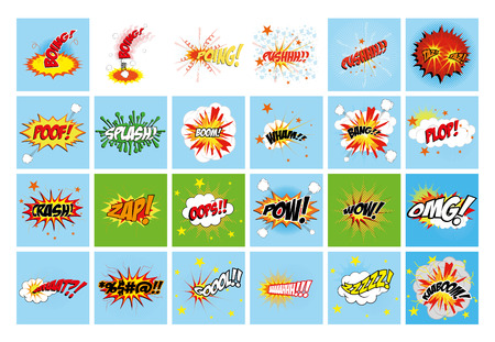 kaboom: a set of comic expressions on colored background Illustration