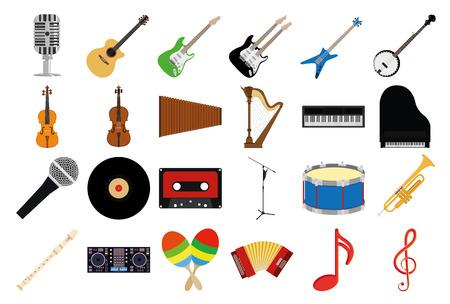 instrumentos musicales: un conjunto de instrumentos musicales sobre un fondo blanco