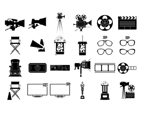 a set of black silhouettes of cinema related elements Vector
