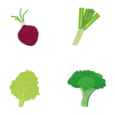 scallion: a set of vegetables on a white background