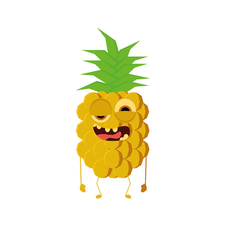 weird: an isolated weird happy pineapple on a white background Illustration