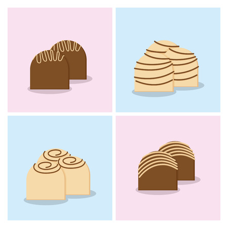 a set of colored backgrounds with different styles of candies