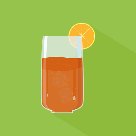 cold drink: an isolated transparent glass with a cold drink on a green background