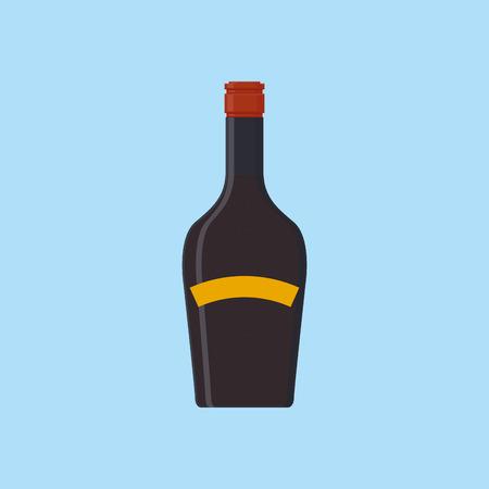 botella de whisky: una botella púrpura aislado en un fondo azul Vectores