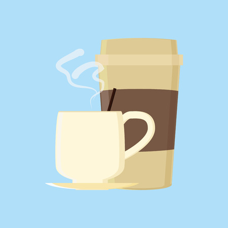 an isolated coffee mug and a plastic cup on a blue background Vector