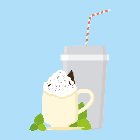 an isolated mug with a milk shake and a plastic cup on a blue background Vector