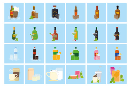 whiskey bottle: a set of blue backgrounds with different beverages