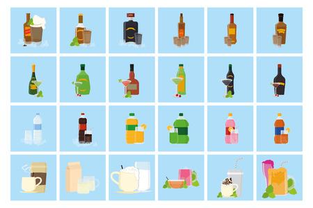 botella de whisky: un conjunto de fondos azules con diferentes bebidas