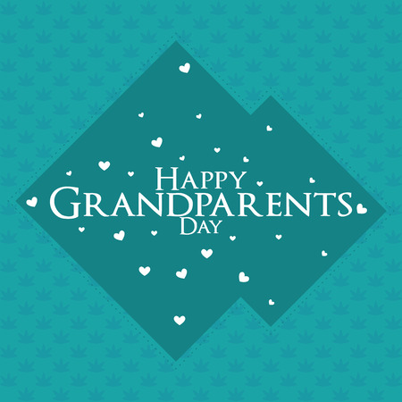 heart month: a blue background with white text for grandparents day Illustration