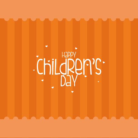 childrens day: an orange background with text for childrens day Illustration