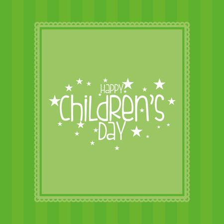 happy people white background: a green background with text for childrens day