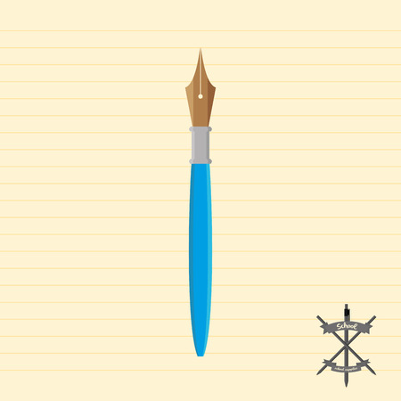 blue pen: an isolated blue pen on a paper background Illustration