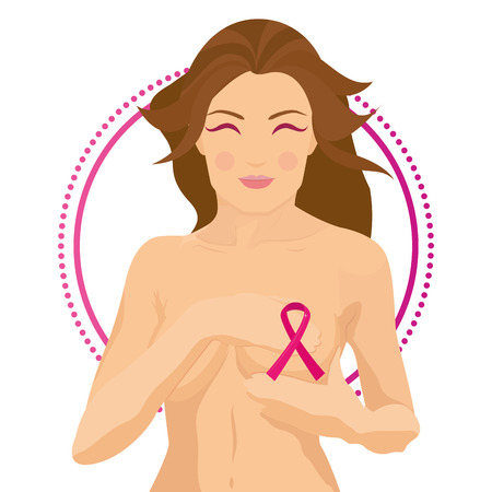 naked woman  white background: a white background with a naked woman and the breast cancer symbol