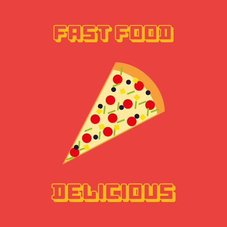 portion: an isolated portion of pizza on a red background with text