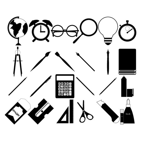 a set of black silhouettes of different school supplies Vector