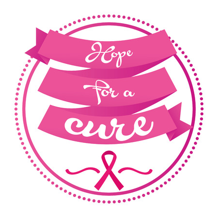 cancer symbol: an isolated ribbon with text and the breast cancer symbol Illustration