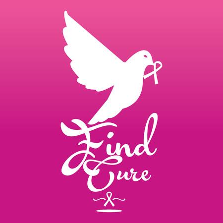 cancer symbol: un fondo rosado con una silueta blanca de un p�jaro con un s�mbolo y el texto del c�ncer de mama Vectores