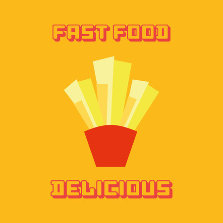 portion: an isolated portion of french fries on a yellow background with text
