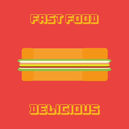 simple background: an isolated sandwich on a red background with text