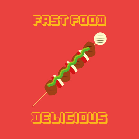 wooden stick: an isolated wooden stick with food on a red background with text