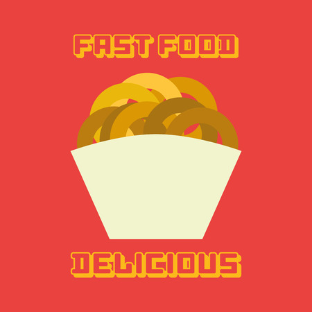 portion: an isolated portion of fried onions on a red background with text