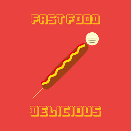 wooden stick: an isolated wooden stick with sausage on a red background with text Illustration