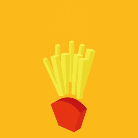 portion: an isolated portion of fast food on a yellow background Illustration