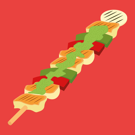 wooden stick: a wooden stick with a lot of ingredients on a red background Illustration