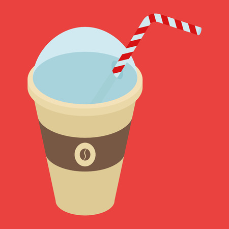 cold coffee: an isolated plastic cup with cold coffee on a red background