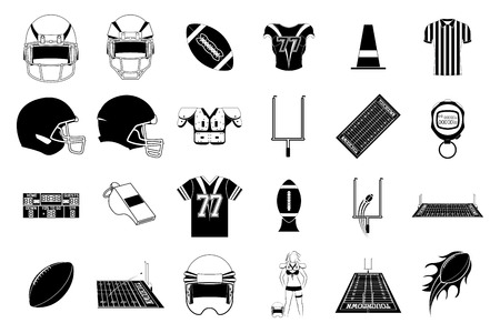 a set of different elements used in football Vector