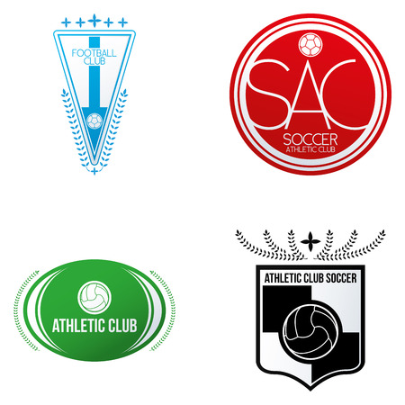 a set of soccer emblems on a white background Vector