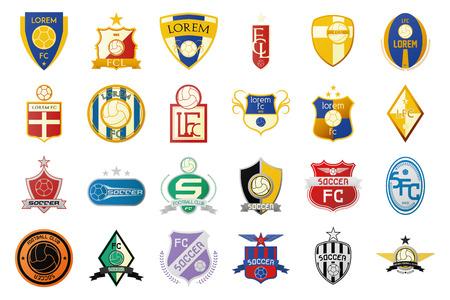futbol soccer dibujos: un conjunto de emblemas de f�tbol sobre un fondo blanco