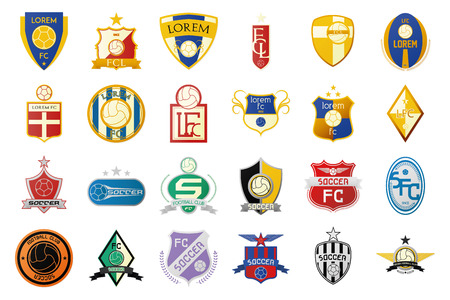 pelota de futbol: un conjunto de emblemas de f�tbol sobre un fondo blanco