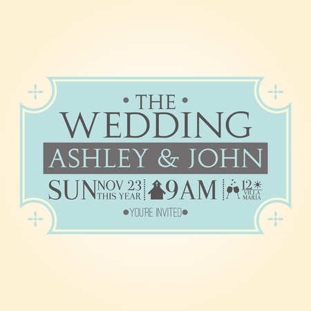 a light yellow background with a blue invitational wedding card Vector