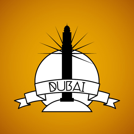 incredible: an isolated label with the silhouette of the princess tower in dubai