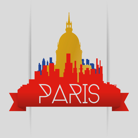 pantheon: a colored skyline of paris with a golden silhouette of the pantheon