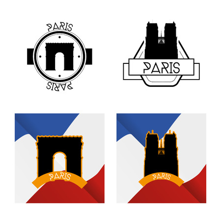 the triumph: a set of labels and backgrounds with silhouettes of the arc of triumph and notre dame