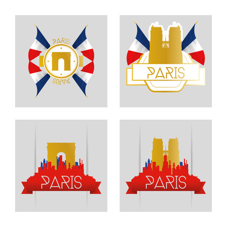 ünlü yer: a set of labels and skylines of paris with silhouettes of famous places Çizim