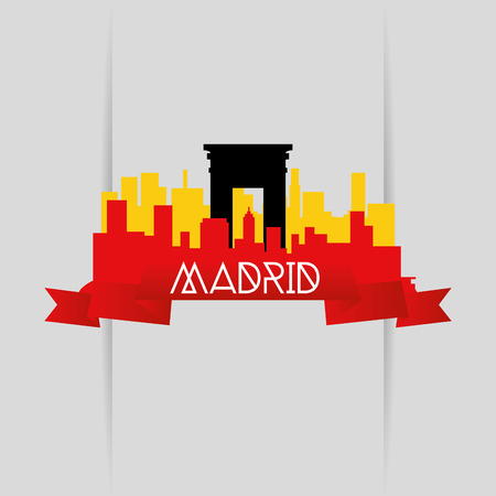 winning location: an isolated cityscape with the silhouette of the arc of victory in madrid Illustration