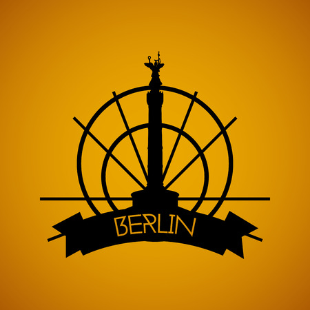 incredible: a yellow background with the silhouette of the berlin victory column