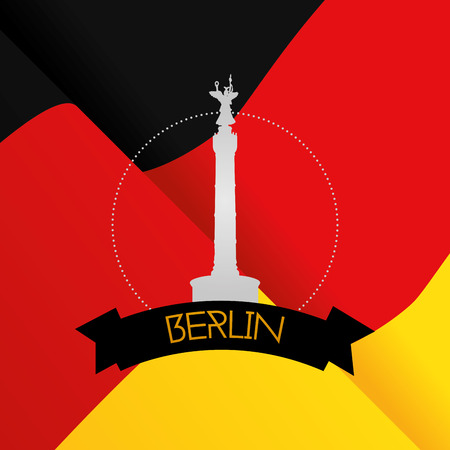 winning location: a colored background with the german flag and the berlin victory column